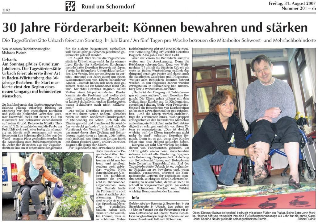 Schorndorfer Nachrichten, 31.08.2007