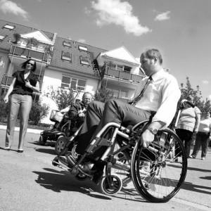 Bürgermeister Kaufmann im Rollstuhl