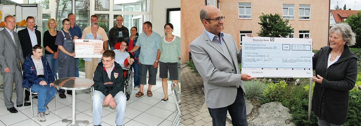 Spenden an den Verein für Behinderte